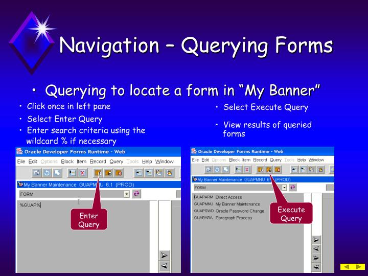 Navigation – Querying Forms