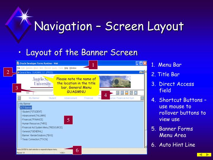 Navigation – Screen Layout