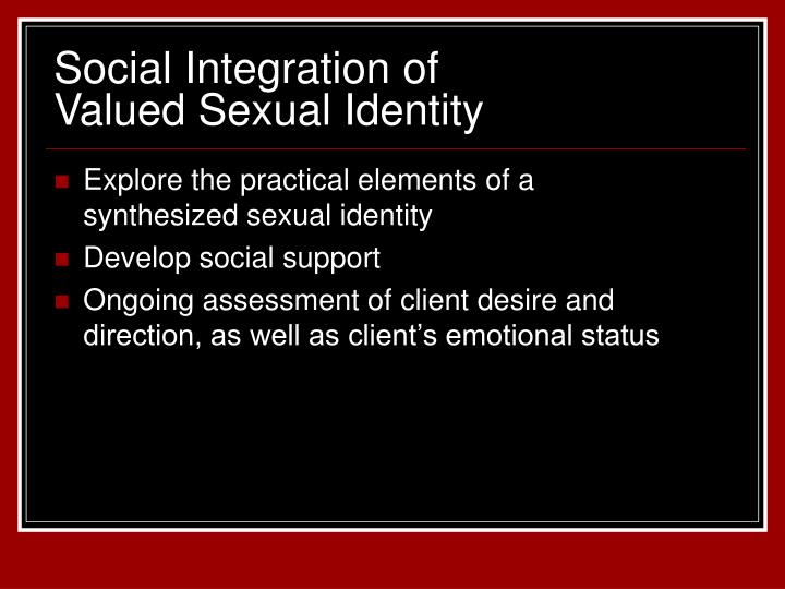 Explore the practical elements of a synthesized sexual identity