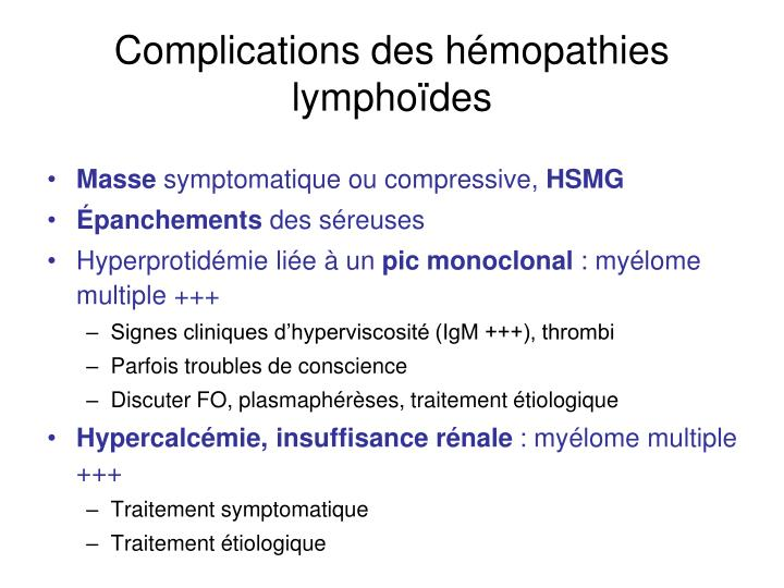 Complications des hémopathies lymphoïdes