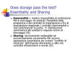 does storage pass the test essentiality and sharing