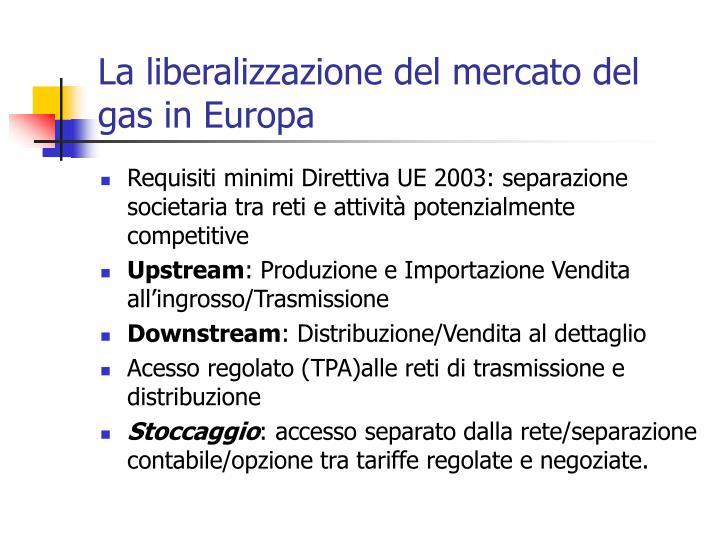 La liberalizzazione del mercato del gas in Europa
