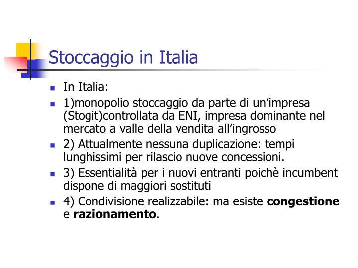 Stoccaggio in Italia