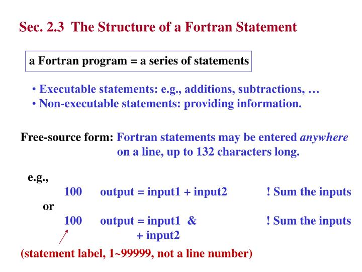Sec. 2.3  The Structure of a Fortran Statement