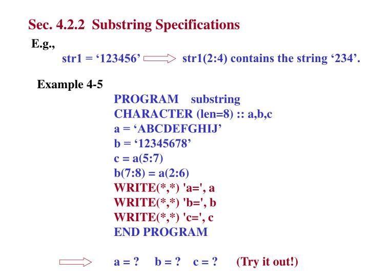 Sec. 4.2.2  Substring Specifications