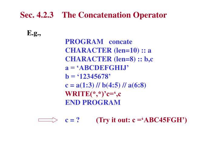 Sec. 4.2.3    The Concatenation Operator