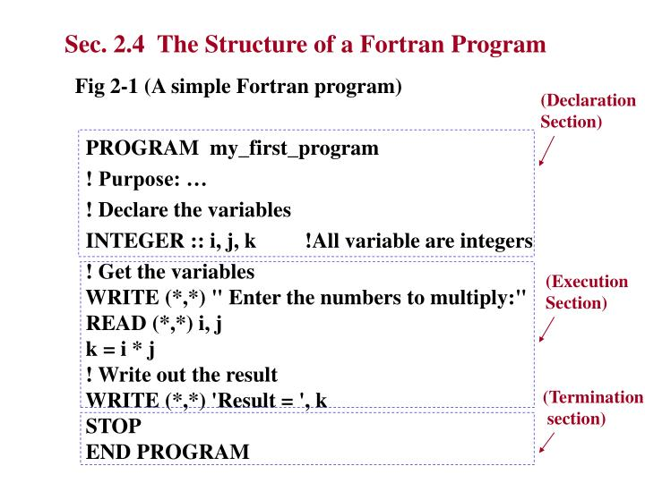 Sec. 2.4  The Structure of a Fortran Program