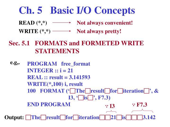 Ch. 5   Basic I/O Concepts