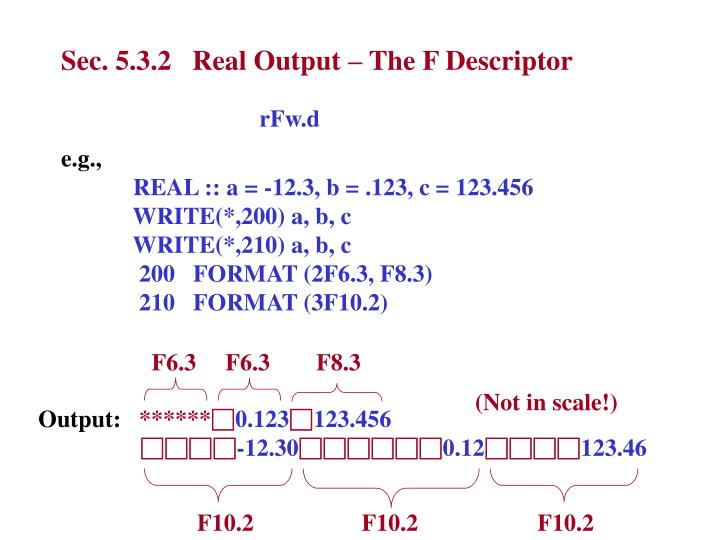 Sec. 5.3.2   Real Output – The F Descriptor