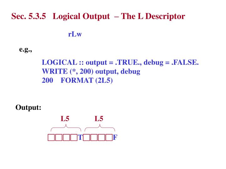 Sec. 5.3.5   Logical Output  – The L Descriptor