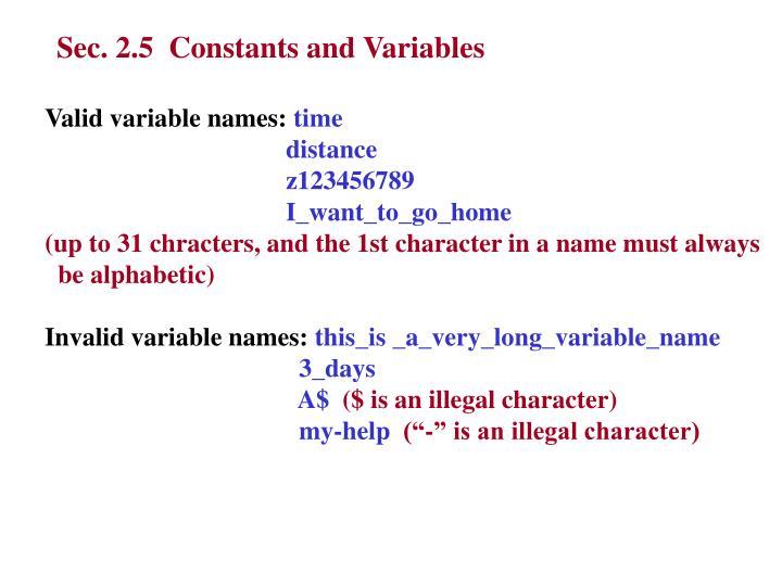 Sec. 2.5  Constants and Variables