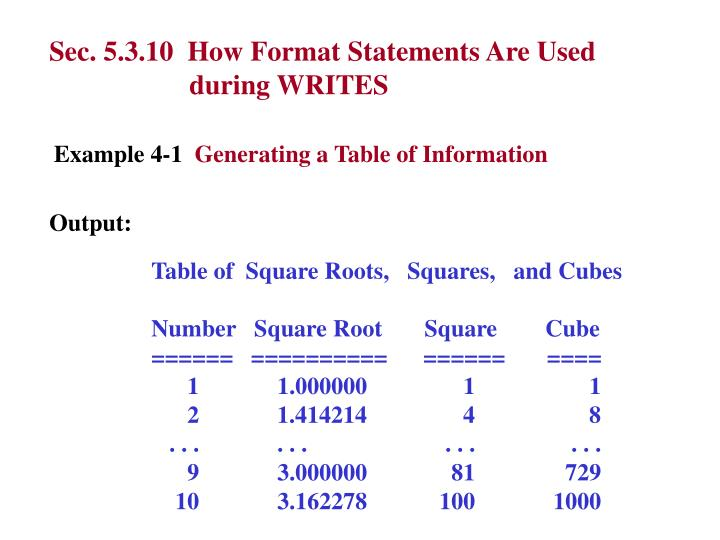 Sec. 5.3.10  How Format Statements Are Used