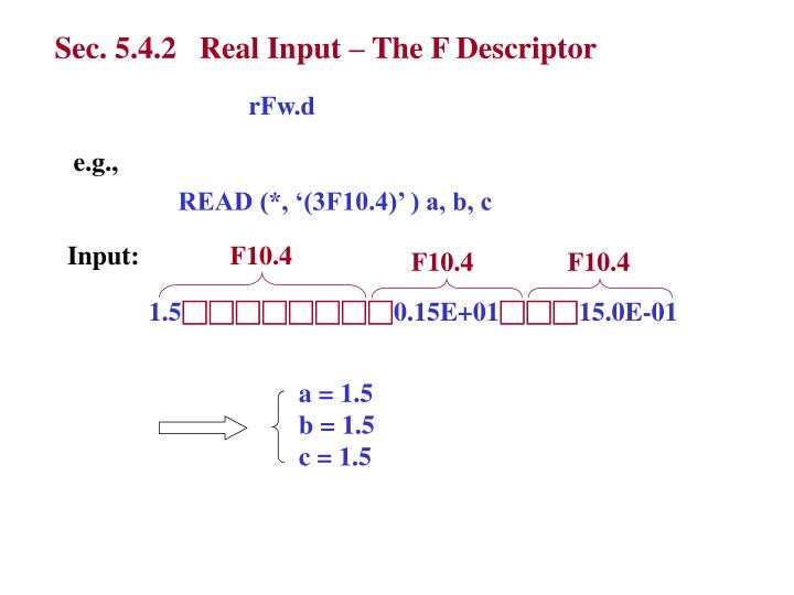 Sec. 5.4.2   Real Input – The F Descriptor