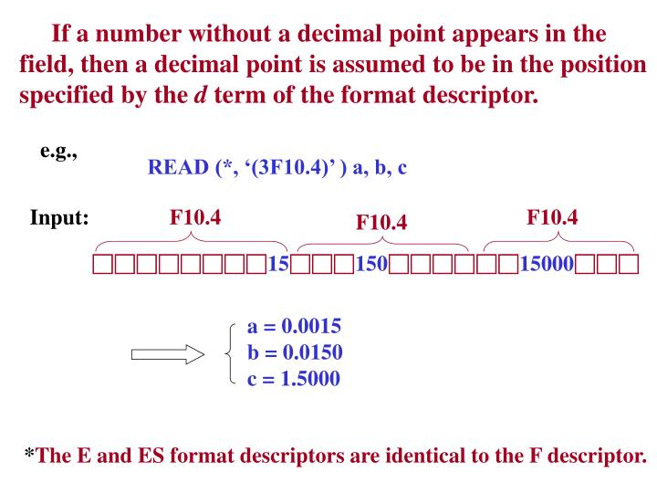 If a number without a decimal point appears in the