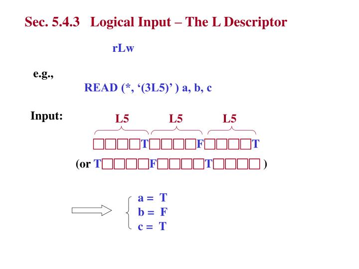 Sec. 5.4.3   Logical Input – The L Descriptor