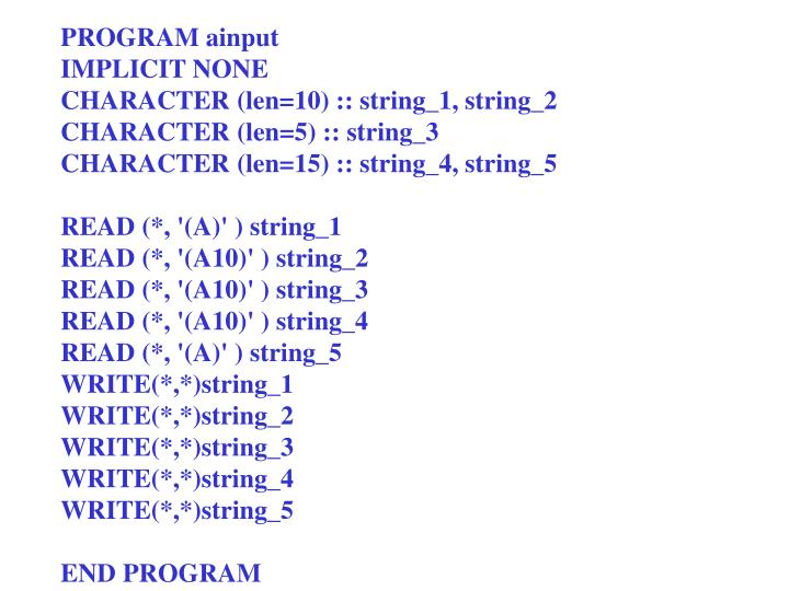 PROGRAM ainput