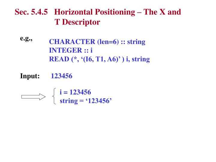 Sec. 5.4.5   Horizontal Positioning – The X and