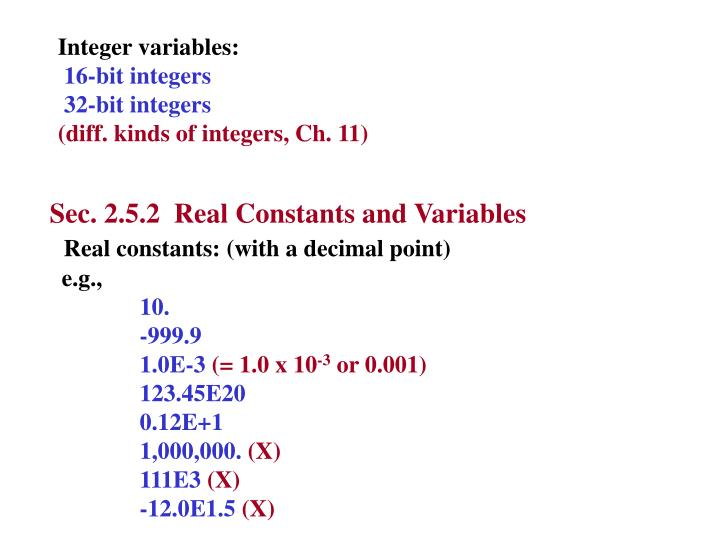 Integer variables: