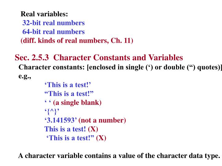 Real variables: