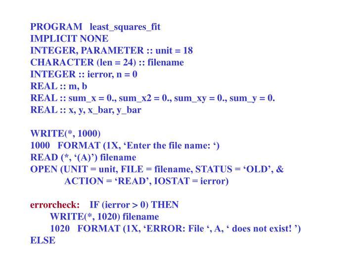 PROGRAM   least_squares_fit