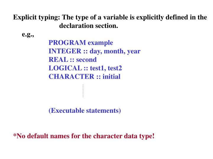 Explicit typing: The type of a variable is explicitly defined in the
