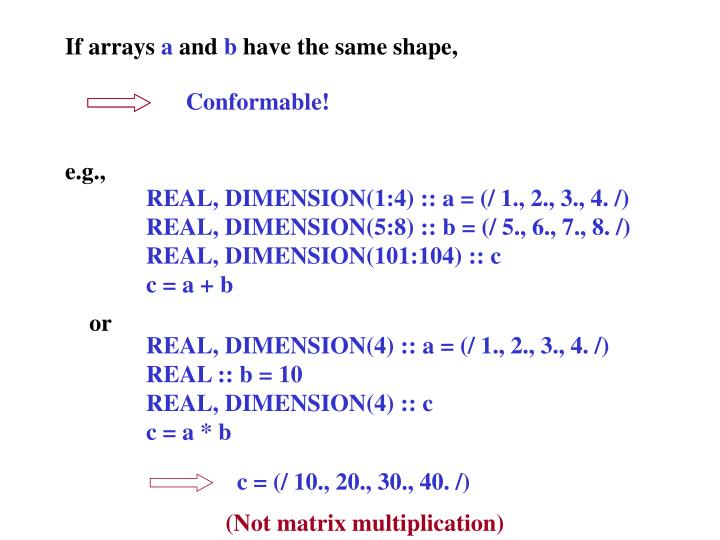 If arrays