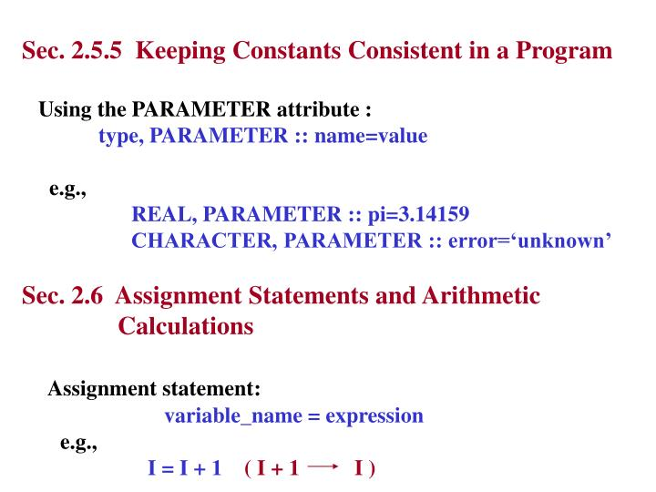 Sec. 2.5.5  Keeping Constants Consistent in a Program