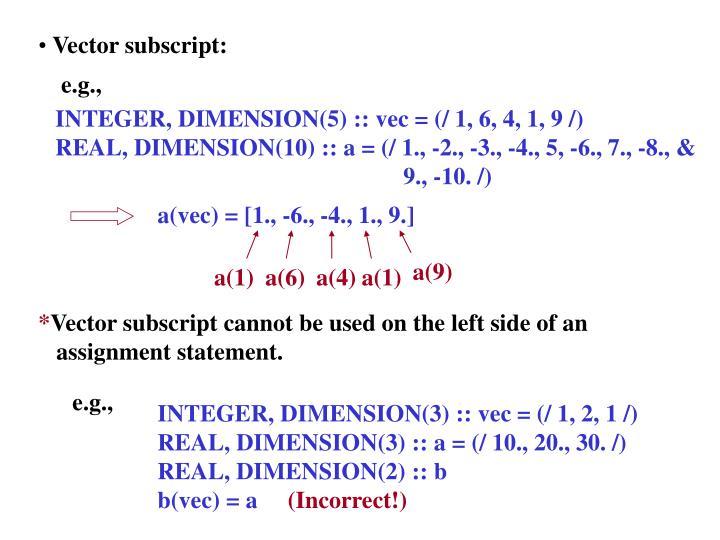 Vector subscript: