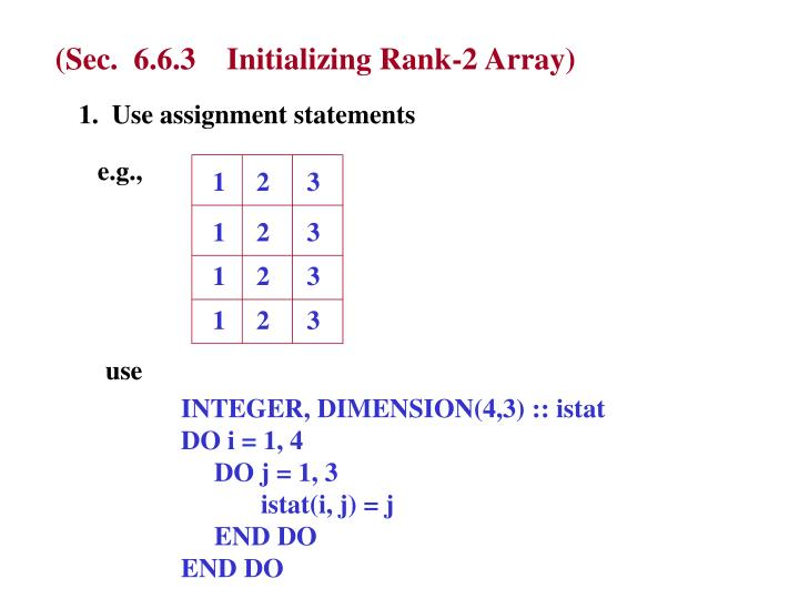 (Sec.  6.6.3    Initializing Rank-2 Array)