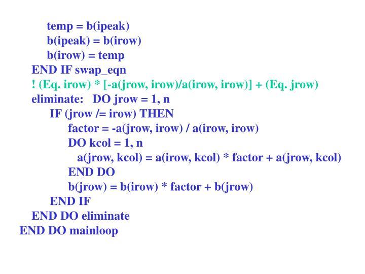 temp = b(ipeak)