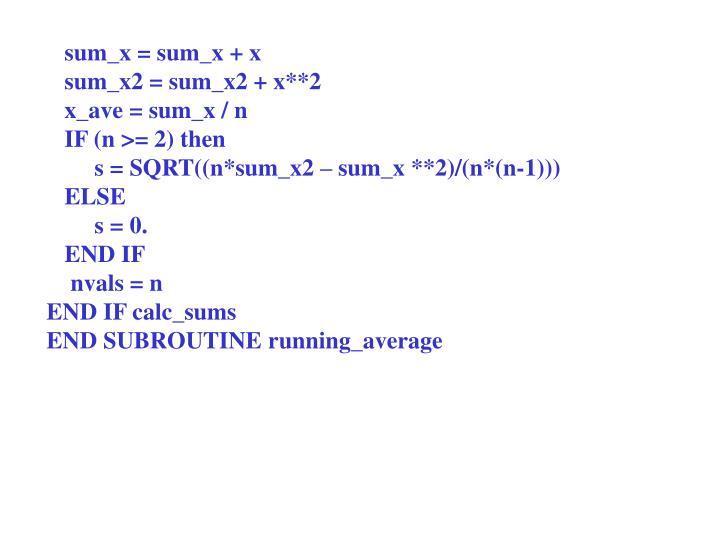 sum_x = sum_x + x
