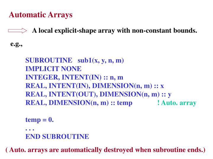 Automatic Arrays