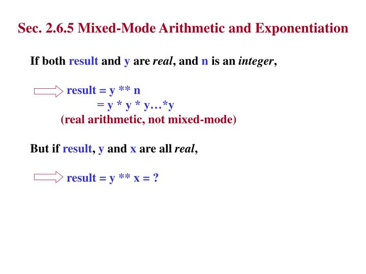 Sec. 2.6.5 Mixed-Mode Arithmetic and Exponentiation