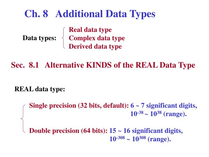 Ch. 8   Additional Data Types