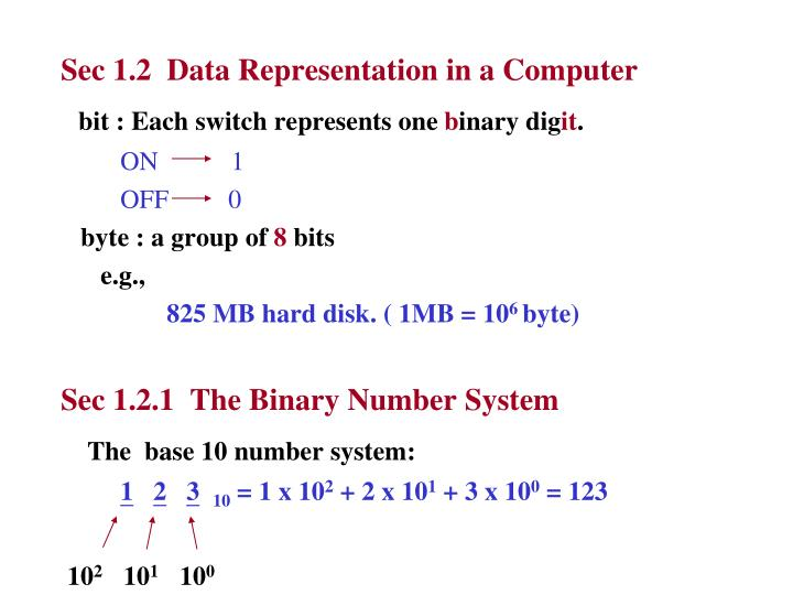 Sec 1.2  Data Representation in a Computer