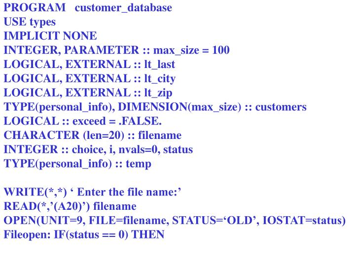 PROGRAM   customer_database