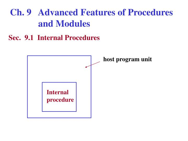 Ch. 9   Advanced Features of Procedures