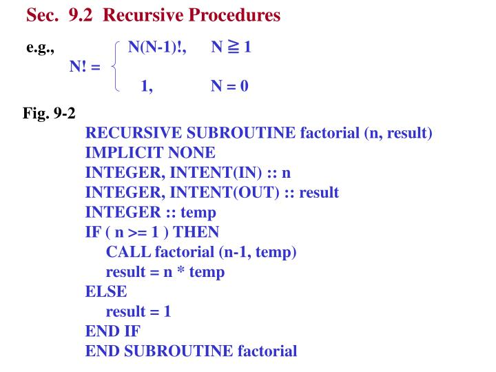Sec.  9.2  Recursive Procedures