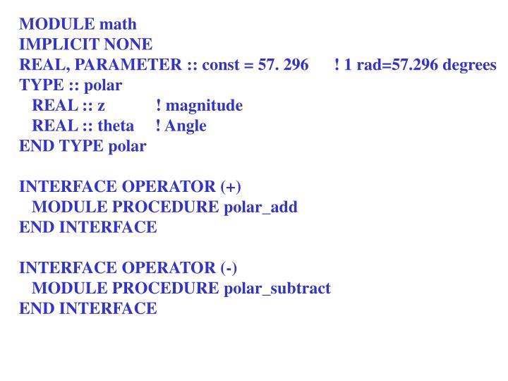 MODULE math