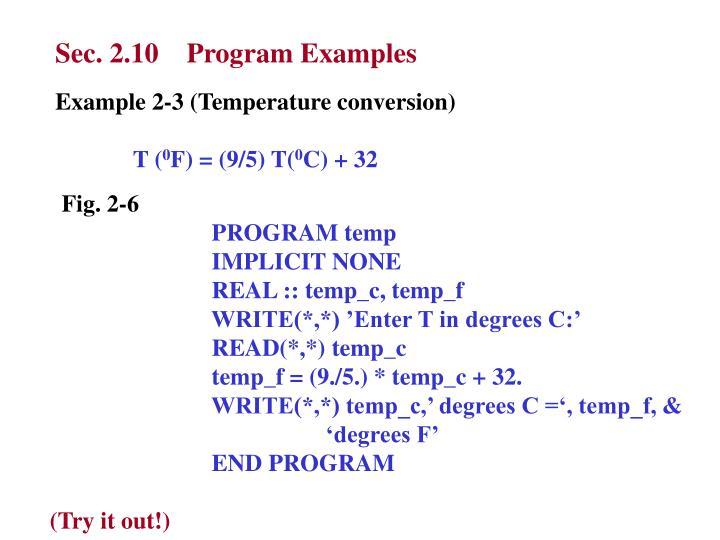 Sec. 2.10    Program Examples