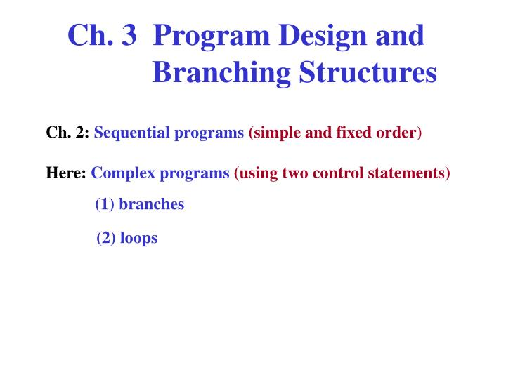 Ch. 3  Program Design and