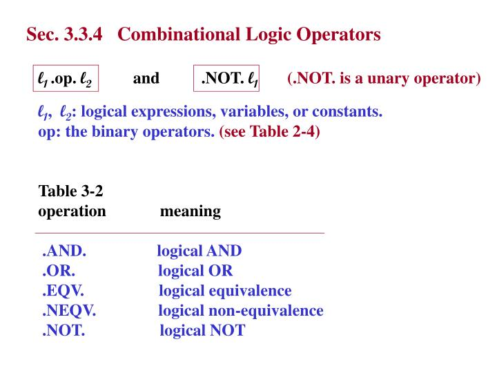 Sec. 3.3.4   Combinational Logic Operators