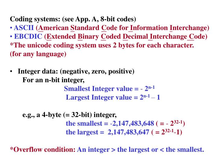 Coding systems: (see App. A, 8-bit codes)