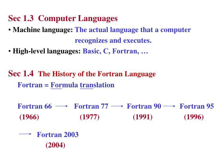 Sec 1.3  Computer Languages