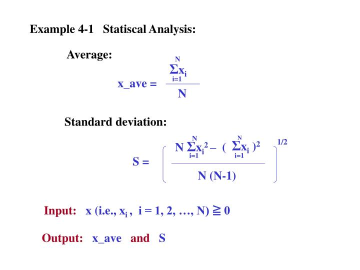 Example 4-1   Statiscal Analysis: