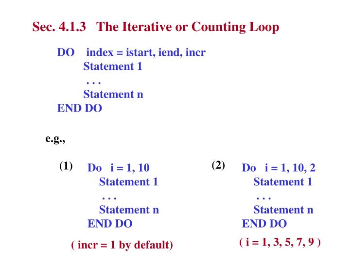 Sec. 4.1.3   The Iterative or Counting Loop
