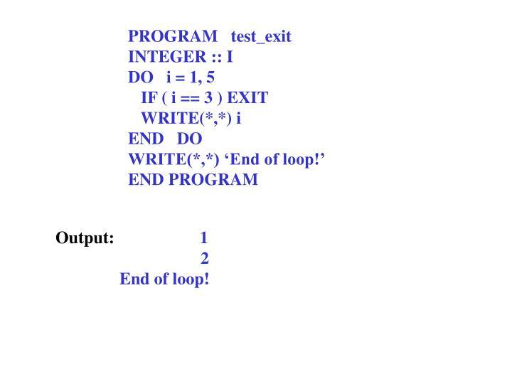 PROGRAM   test_exit