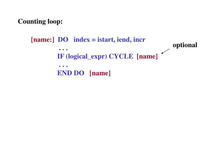 Counting loop: