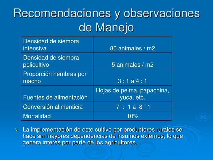 Recomendaciones y observaciones de Manejo