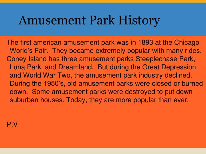 Amusement park history
